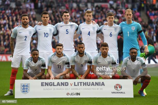 The England team line up prior to the FIFA 2018 World Cup Qualifier between England and Lithuania at Wembley Stadium on March 26 2017 in London...