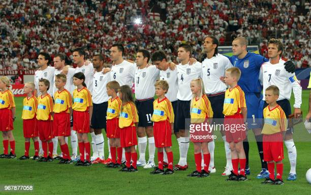 The England team line up prior to the FIFA World Cup SemiFinal between England and Portugal at the Stadium in Gelsenkirchen on July 1st 2006 Portugal...