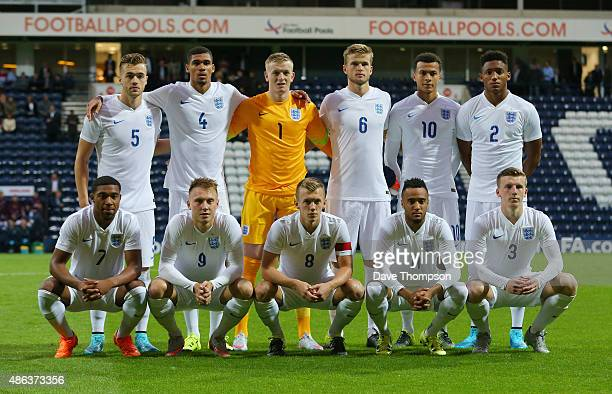The England team line up prior to the International friendly match between England U21 and USA U23 at Deepdale on September 3 2015 in Preston England