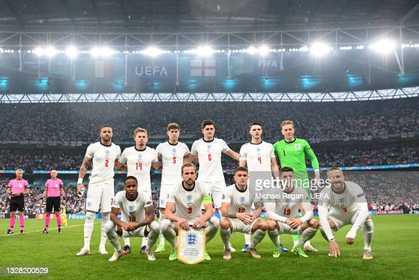 The England team line up prior to the UEFA Euro 2020 Championship Final between Italy and England at Wembley Stadium on July 11, 2021 in London,...