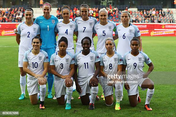 The England team lines up prior to the UEFA Women's Euro 2017 Qualifier between Belgium and England held at Stadium Den Dreef Oud Heverlee Leuven on...