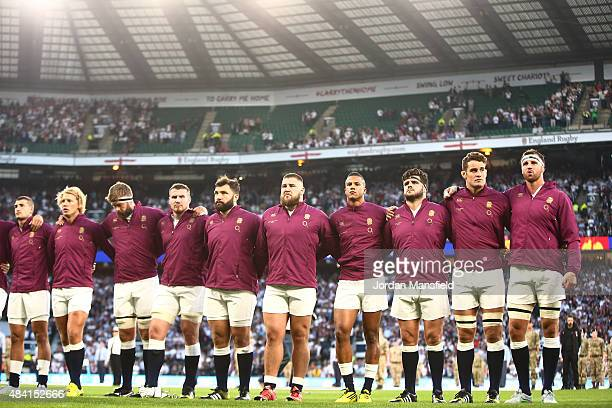 The England team lineup for the national anthem during the QBE International match between England and France at Twickenham Stadium on August 15 2015...