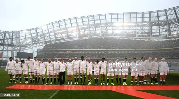The England team lineup for the national anthems prior to kickoff during the RBS Six Nations match between Ireland and England at the Aviva Stadium...