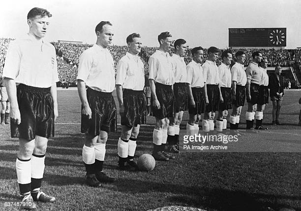The England team lining up for the National Anthem They would go on to lose the match 71