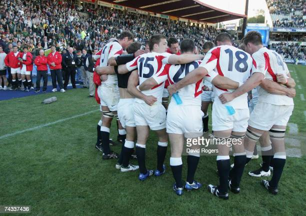 The England team look dejected after defeat in the rugby union international match between South Africa and England at Vodacom Park on May 26 2007 in...