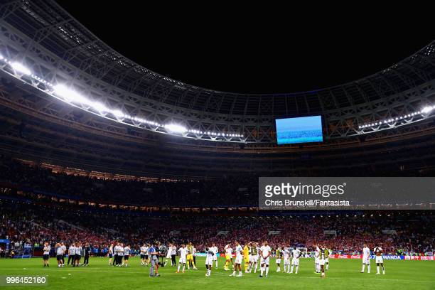 The England team look dejected after the 2018 FIFA World Cup Russia Semi Final match between England and Croatia at Luzhniki Stadium on July 11 2018...