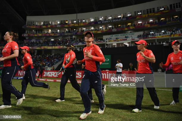 The England team make their way out for the start during the ICC Women's World T20 2018 SemiFinal match between England and India at Sir Viv Richards...
