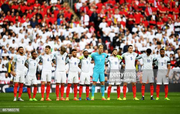The England team observe a one minutes silence to remember those who lost their lives in the recent Westminster terrorist attacks prior to the FIFA...
