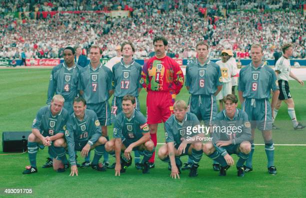 The England team of back row left to right Paul Ince David Platt Steve McManaman David Seaman Gareth Southgate and Alan Shearer Front row left to...