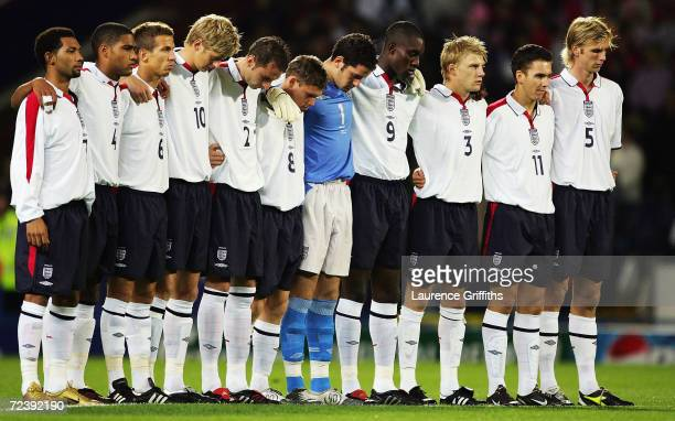 The England team pay their respects to the murdered hostage Ken Bigley during the UEFA European U21 Championship Qualifying match between England and...