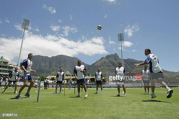 The England team play footballtennis during a training session prior to the third Test Match between South Africa and England at Newlands cricket...