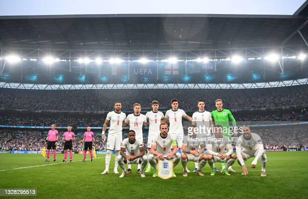 The England team pose before the UEFA Euro 2020 Championship Final between Italy and England at Wembley Stadium on July 11, 2021 in London, England.