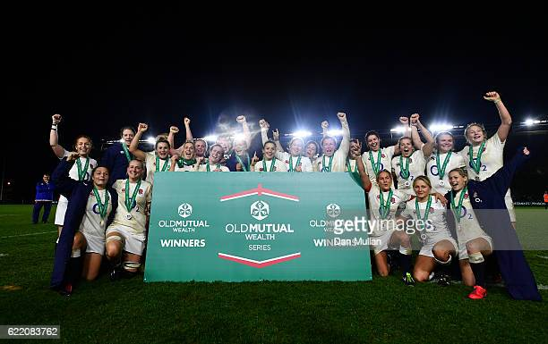 The England team pose following their victory during the Old Mutual Wealth Series match between England Women and France Women at Twickenham Stoop on...