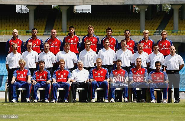 The England team pose for a group photo during the England Nets session at the Feroze Shah Kotla Ground on March 30 in New Delhi India