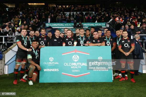 The England team pose for a photo after the Old Mutual Wealth Series match between England and Argentina at Twickenham Stadium on November 11 2017 in...