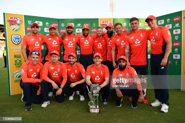 The England team pose for a photo after victory in the series during the Third T20 International match between South Africa and England at Supersport...