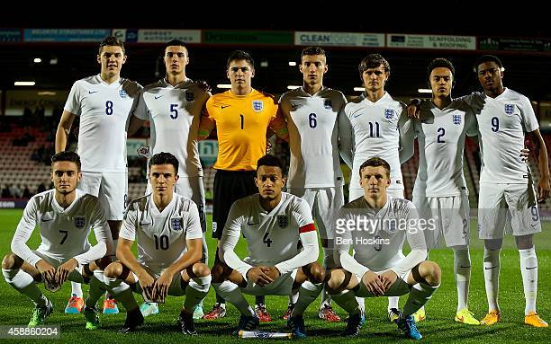 The England team pose for a photo prior to the U20 International Friendly match between England and Canada on November 12 2014 in Bournemouth England