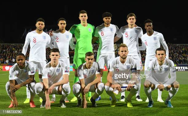 The England team pose for a photo prior to the UEFA Euro 2020 Qualifier between Kosovo and England at the Pristina City Stadium on November 17 2019...