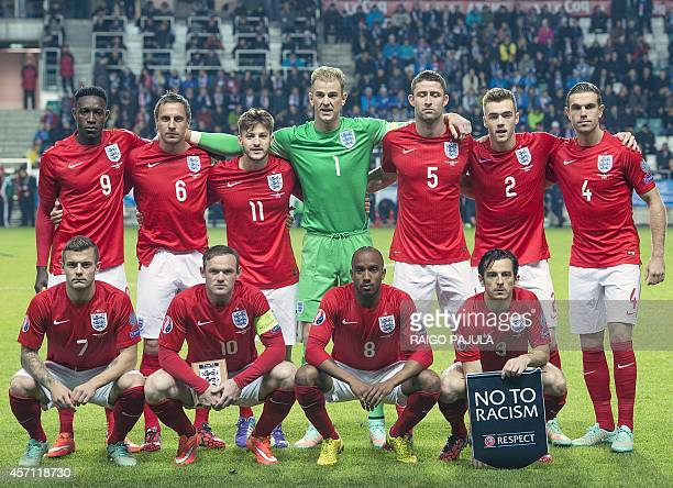 The England team pose for a photograph ahead of the UEFA 2016 European Championship qualifying group E football match between England and Estonia in...