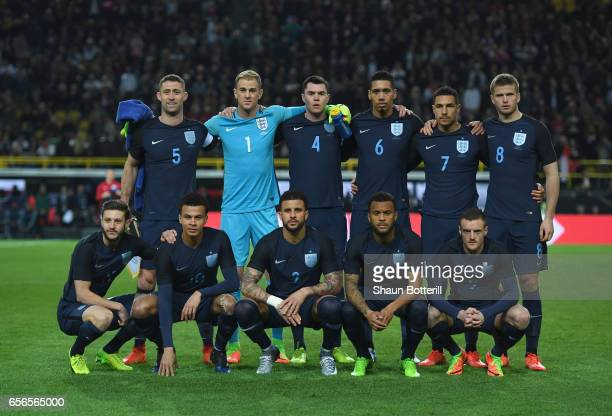The England team pose for a photograph prior to the international friendly match between Germany and England at Signal Iduna Park on March 22 2017 in...