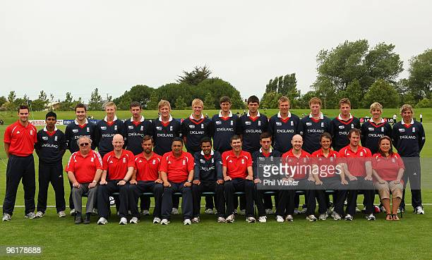 The England team pose for a team photo during the ICC U19 Cricket World Cup Super League play off final match between England and New Zealand at QEII...