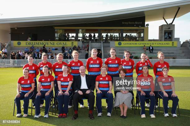 The England team pose for a team photo with the GovernorGeneral of Australia Sir Peter Cosgrove and Lynne Cosgrove prior to the T20 match between the...