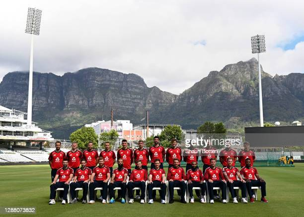 The England team pose for a team photograph. Back Row Lewis Gregory, Sam Billings, Dawid Malan, Tom Curran, Tom Banton, Olly Stone, Reece Topley, Tom...