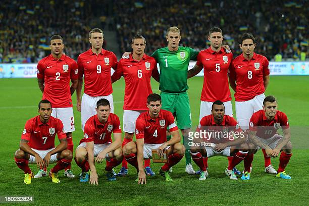 The England team pose for the cameras prior to kickoff during the FIFA 2014 World Cup Qualifying Group H match between Ukraine and England at the...