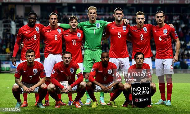 The England team pose for the cameras prior to kickoff during the EURO 2016 Qualifier match between Estonia and England at A Le Coq Arena on October...