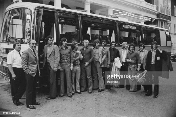 The England team pose in front of the team bus ahead of their friendly international against Austria at Wembley Stadium in London, England, 24th...