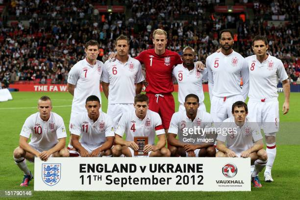 The England team pose prior to kickoff during the FIFA 2014 World Cup qualifier group H match between England and Ukraine at Wembley Stadium on...