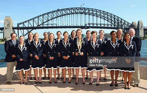 The England team pose with the ICC Women's World Cup 2009 trophy at the Opera House overlooking Sydney Harbour on March 22 2009 in Sydney Australia