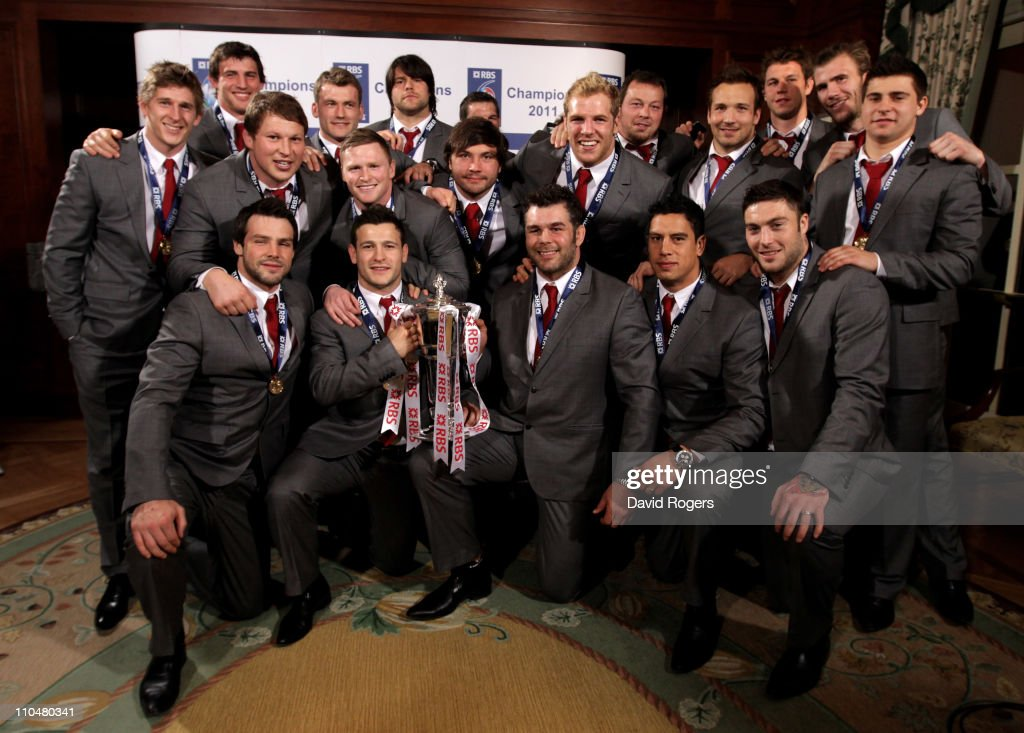 The England team pose with the RBS 6 Nations trophy following the RBS 6 Nations Championship match between Ireland and England at the Aviva Stadium on March 19, 2011 in Dublin, Ireland.