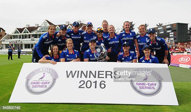 The England Team poses with the trophy after winning the series during the 3rd Royal Royal London ODI between England Women and Pakistan Women at The...