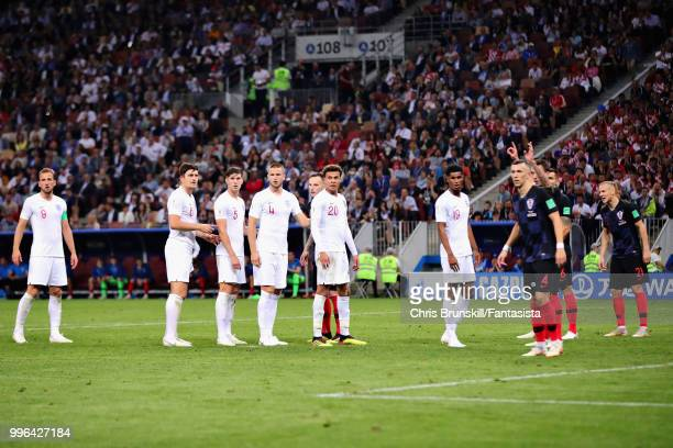 The England team prepare for a corner during the 2018 FIFA World Cup Russia Semi Final match between England and Croatia at Luzhniki Stadium on July...