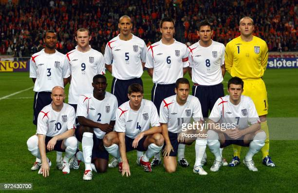The England team prior to the International Friendly match between Holland and England at The Amsterdam Arena on November 15 2006 The match ended in...