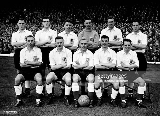 The England team prior to the International match against Northern Ireland at Windsor Park in Belfast 2nd October 1954 Back row Johnny Wheeler Bill...