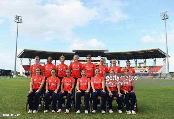 The England team psoe for a team picture during an England Nets Session and Press Conference at the Sir Vivian Richards Stadium on November 21 2018...