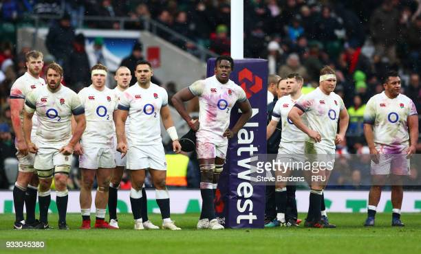 The England team react to Ireland scoring a third try during the NatWest Six Nations match between England and Ireland at Twickenham Stadium on March...