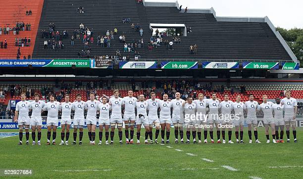 The England team sing the national anthem before the England V Australia semi final match at Estadio El Coloso del Parque Rosario Argentina during...