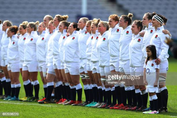 The England team sing the national anthem prior to kickoff during the Women's Six nations match between England and Scotland at the Twickenham Stoop...