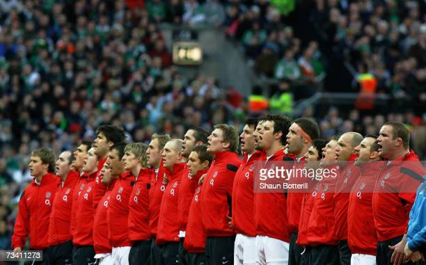 The England team sing the national anthem prior to kickoff during the RBS Six Nations Championship match between Ireland and England at Croke Park on...