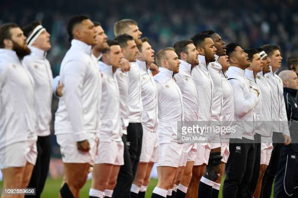 The England team sing the national anthem prior to the Guinness Six Nations between Ireland and England at Aviva Stadium on February 2 2019 in Dublin...