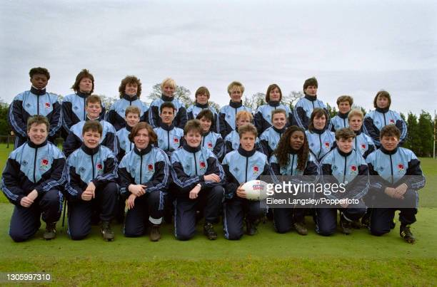 The England team squad posed together on the first day of competition in the 1991 Women's Rugby World Cup in Cardiff, Wales on 6th April 1991....