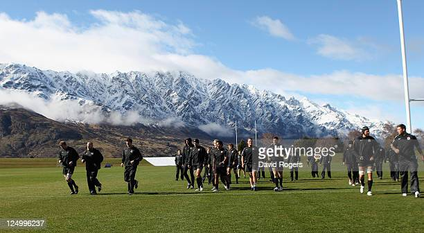 The England team take to the pitch during an England IRB Rugby World Cup 2011 training session at Queenstown Events Centre on September 15 2011 in...
