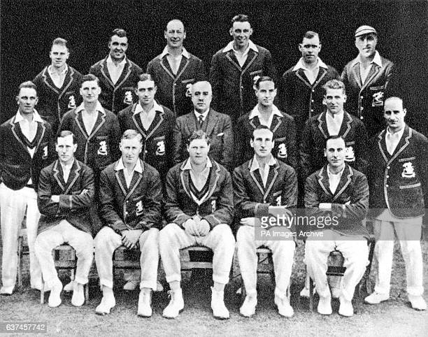 The England team that toured Australia: George Duckworth, Les Ames, Phil Mead, Maurice Tate, Patsy Hendren, George Geary; Morris Leyland, Sam...