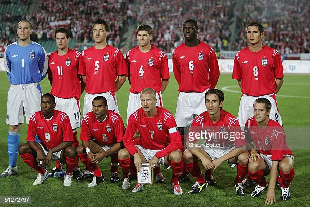 The England team to play Poland pose for ateam picture prior to the 2006 World Cup Quailfier Group 6 match between Poland and England at the Slaski...