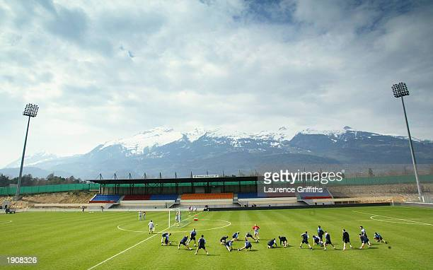 The England team train during an England team training session prior to the Liechtenstein and England game on March 28 2003 at the Rheinpark Stadium...