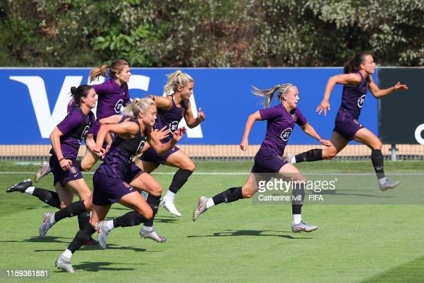 The England team train during the England Training Session at Terrain d'Honneur on July 01 2019 in Lyon France