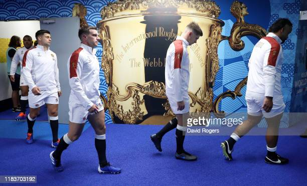 The England team walk on to the pitch during the Rugby World Cup 2019 SemiFinal match between England and New Zealand at International Stadium...